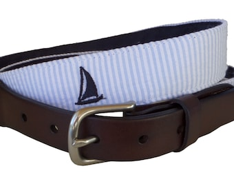 Navy Sailboat Leather Belt / Leather Belt / Seersucker Belt / Preppy Webbing Belt Men, Women and Children/Navy Sailboat on Blue Seersucker