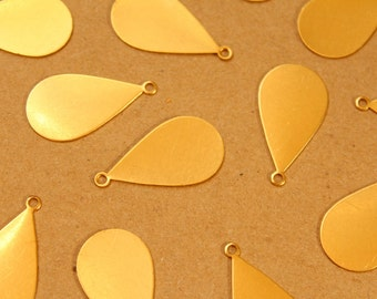 12 pc. Large Raw Brass Teardrop Tags: 31mm by 17mm - made in USA | RB-967