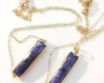 Blue Sapphire Pendant, Gold Necklace, Dark Blue Stone Necklace, Blue Gold Pendant