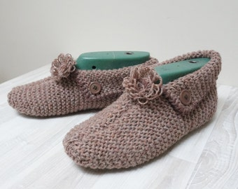 Slippers Socks hand knitted Leg warmer brown grey blush pink size 6 7 8 9 handmade stretchable ready to ship Wool large woman flower decor