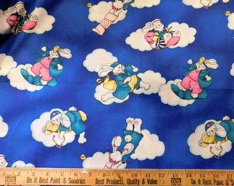 """Bunny Rabbit Cloud Print Cotton Fabric 30"""" X 60"""" Sewing Quilting"""