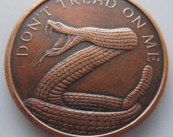 Don't Tread On Me (Silver Shield) (Black Patina) 1 oz .999 Pure Copper Challenge Coin