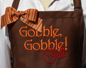 """READY TO SHIP """"Gobble, Gobble Y'all"""" Thanksgiving Apron - Womens Thanksgiving Holiday Apron, Southern Kitchen Aprons, Custom aprons"""