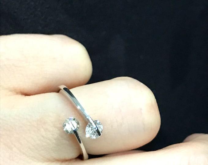 Diamond Ring--14 K White Gold--Engagement Ring--Double Diamond Ring--Two Stone Diamond Ring--Soulmate Ring