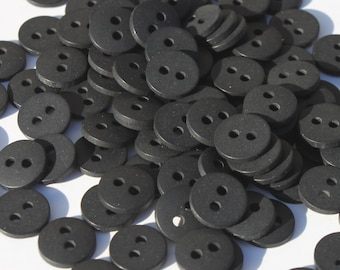 Vintage Small Black Buttons, Round Plastic NOS 3/8 inch, Lot of 100 Doll Clothes Craft Sewing Buttons