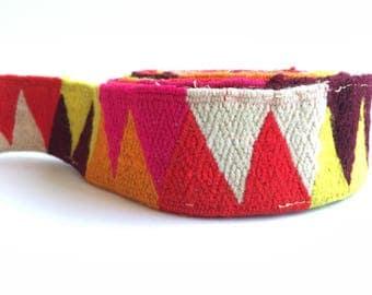 Handwoven handmade vintage ethnic Andean Peruvian tribal boho woven trim  upholstery loom Cuzco 4 yards  AM10