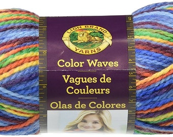 Lion Brand Color Waves Self Striping Yarn in Starboard Wool Blend