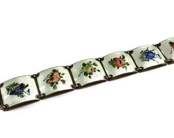 Vintage Finn Jensen Silver Enameled Bracelet