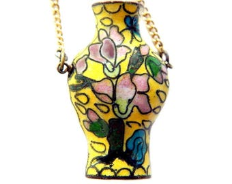 Asian Signed Cloisonne Vase Necklace Yellow Floral Enamel Chinese Cloisonne Necklace Vintage Jewelry For Women Spring Summer Fashion