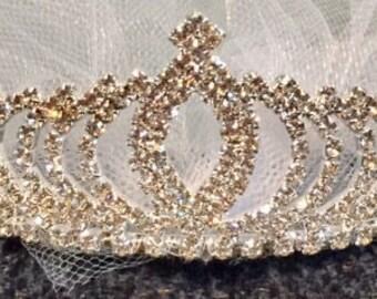 Tiara Veil, Bachelorette party veil, Fun party veil, princess tiara veil, wedding veil, Party Veil