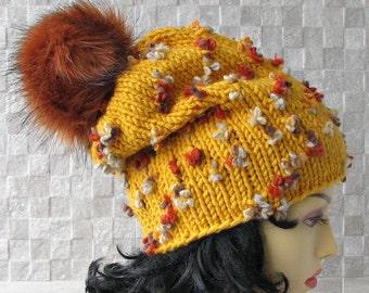 Slouchy hat women, Slouch knit hat for women, Mustard Beanie Hat, knit hat, Slouchy beanie, Women slouch hat, slouch beanie Fur pom pom