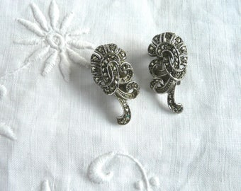 Silver marcasite earrings - mid century silver and marcasite earrings - clip on silver marcasite earrings