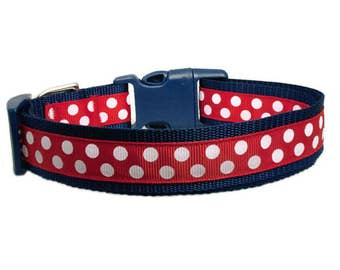 """Polka Dot Dog Collar 1"""" Red & White Polka Dots Navy Dog Collar"""