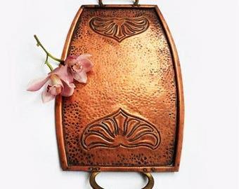 SALE Antique Art Nouveau Copper Tray,Antique Copper serving tray,German Two Handle tray ,Art deco Tray