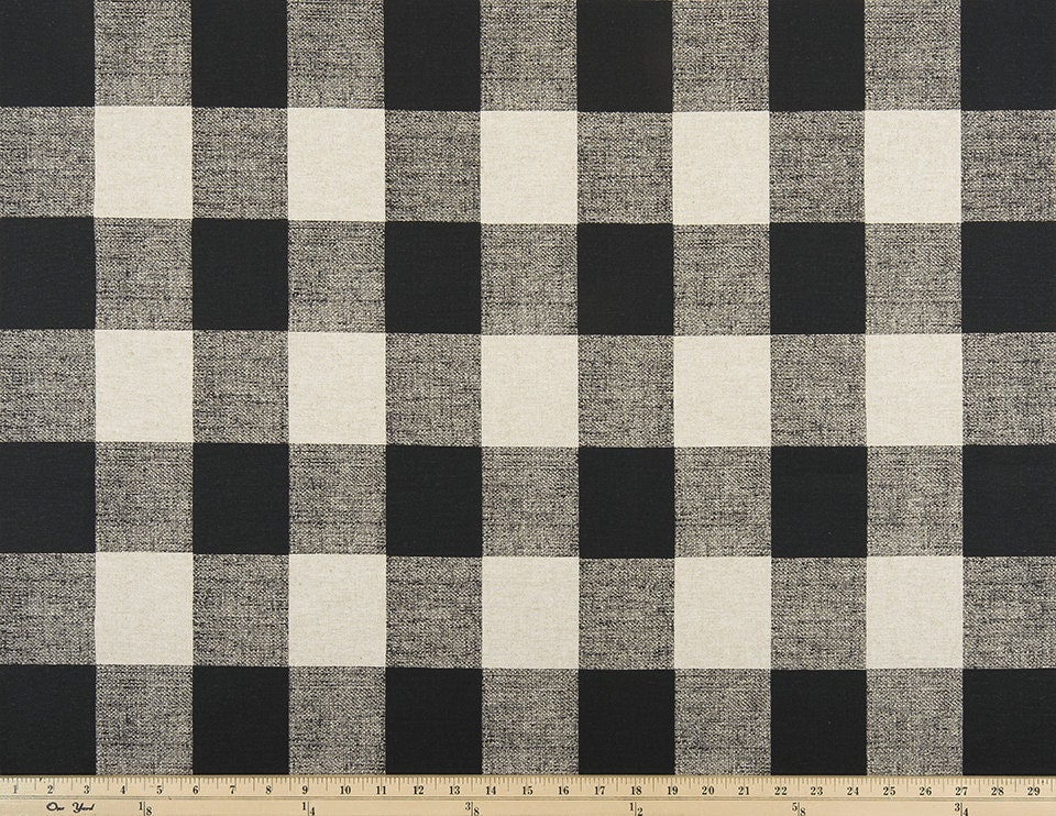 Grommet Top Black And Tan Linen Buffalo Check Curtains