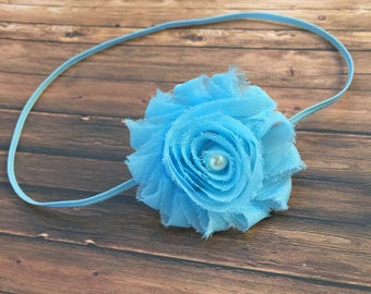 Baby Blue Headband. Sky Blue Headband. Baby Girl Headband, Infant Headband, Baby Shower Girl Gift, Wear Home Headband, Nylon Headband