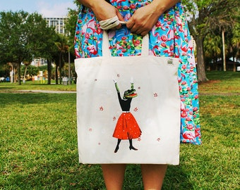 Alligator Tote Bag | Organic Cotton Canvas Tote | Florida Grocery Bag | Screen Printed Illustration | Retro Tote Bag | Crocodile Tote