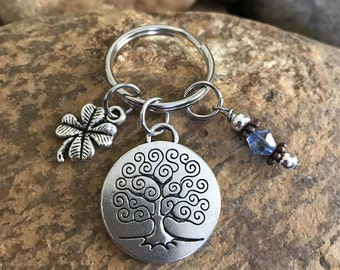 Tree of life keychain with good luck clover, and baby blue crystal - graduation and or Mother's Day gifts