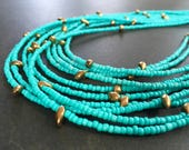 RESERVED For Scarlett, Turquoise Statement Necklace, Multi Strand, Turquoise Glass, Antiqued Gold, Bib Necklace, Resort Jewelry  1370