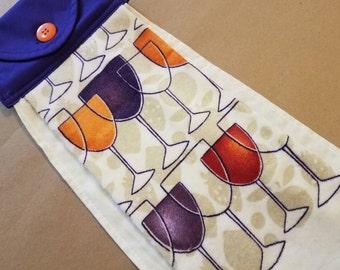 Wine Glass Hanging Kitchen Towel, Button Top Dish Towel, Kitchen Linens, Vino, Wine Lover , Housewarming Gift, Hostess Gift, Orange, Purple