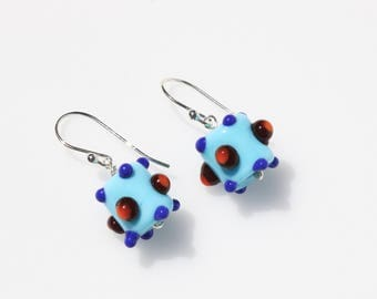 Blue Earrings // Blue Jewelry // Glass Bead Earrings // Lampwork Earrings // Glass Earrings // Small Dangle Earrings // Handcrafted Earrings