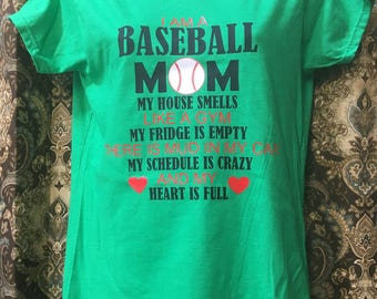Baseball mom t shirt, baseball, sports, mom, custome t shirt, bat, baseball life, football, hockey, rugby, softball, soccer, basketball