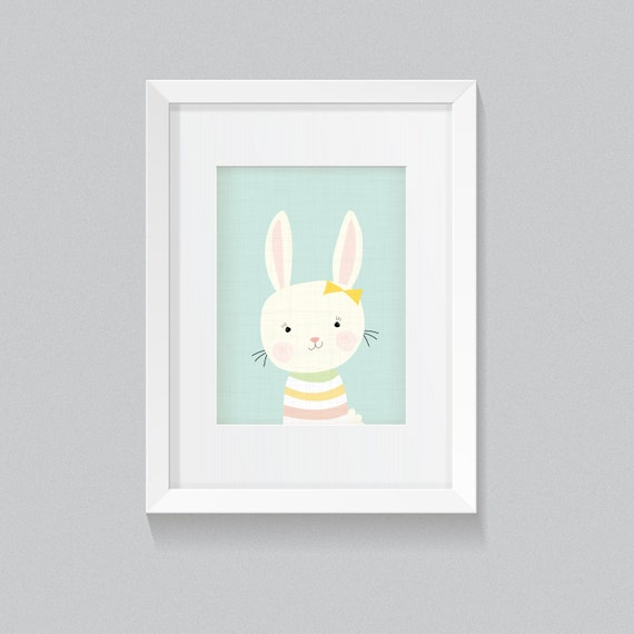 Adorable Cute Woodland Forrest Bunny Rabbit Animal Print - Digital Instant Download