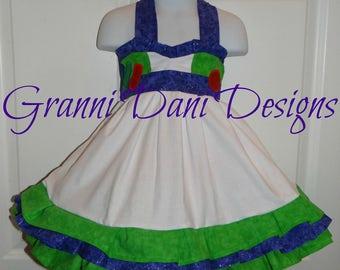 Buzz lightyear toy story halter twirl dress ruffle baby toddler girl 6 12 18 24 months 2t 3t 4t 5t 6 7 8 disney world disneyland
