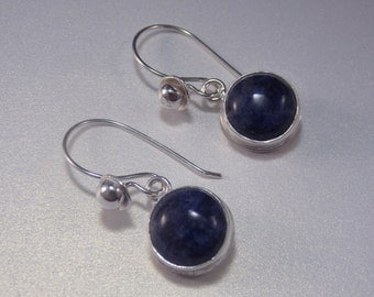 Blue Sodalite Sterling Silver Dangle Earrings