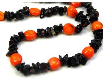 Baltic Amber Necklace with ORANGE  Coral Length 50-52 cm/20-20.8nch 1 Strends