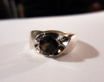 Mens smoky quartz sterling silver ring - made to order