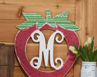 Unfinished Strawberry Monogram! Perfect for summer!