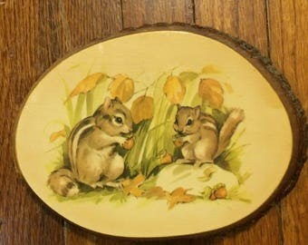 Chipmunk decoupage wood slice Ohiopyle State Park, Pennsylvania tourist souvenir natural 70s art