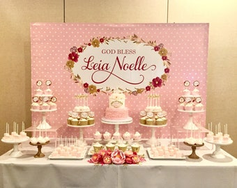 Pink and Gold Backdrop - .JPEG File via Email Delivery - You Print Your Own