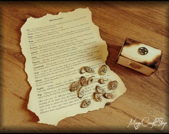 Set of Witches Runes with wooden box, made with wood, totally handmade  - pocket portable
