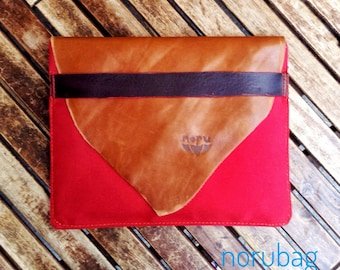 Big red wallet, ipad case, waterproof red and striped brown industrial canvas and recycled Italian cow leather cover.