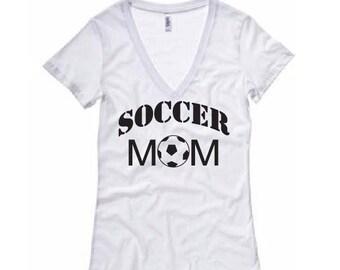 Soccer Mom Shirt - Womens V-Neck T-Shirt. Long Length Tee. Black, White, Grey