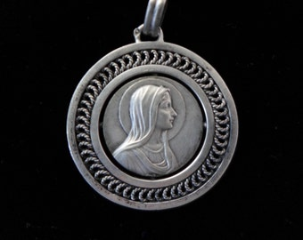Vintage French Virgin Mary Holy Medal