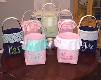 Personalized Easter Basket.  Boy or Girl Easter Bag.  Several Prints To Choose From.  Name Embroidered For Free