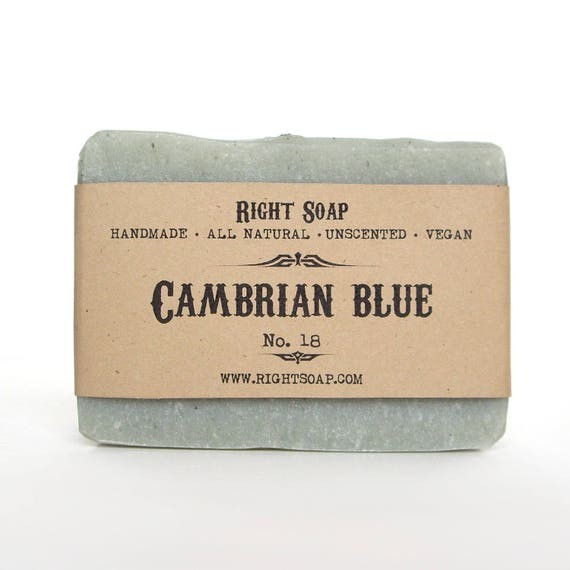 Cambrian Blue Clay Soap - Detox soap, Unscented Soap, Artisan Soap, Men Soap, Handcrafted Soap, Homemade Soap, All Natural Soap, Vegan Soap
