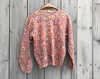 Vintage sweater | 1990s J Crew floral print boxy cardigan sweater
