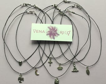 Tiny Charm Choker - Hemp, Black, Silver, Charms, Layer Necklace, Simple, Minimalist