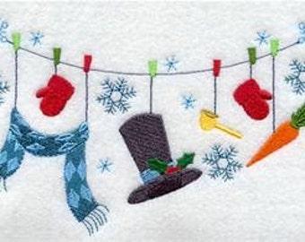 Snowman Clothesline Embroidered Towel | Flour Sack Towel | | Dish Towel | Kitchen Towel | Hand Towel | Snowman
