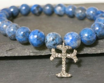 Diamond Cross Lapis Bracelet, Pave diamond sterling cross, blue lapis stacking bracelet, blue layering yoga bracelet, beachy boho chic