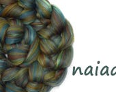 Blended roving - 23 micron Merino - Mulberry silk - duck egg - brown - olive - 100g - 3.5oz - NAIAD