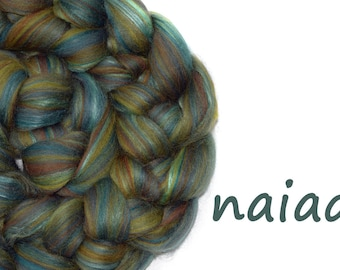 Blended top - blended roving - 23 micron Merino - Mulberry silk - duck egg - brown - olive - 100g - 3.5oz - NAIAD