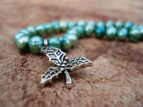 Christmas Bracelet, Gift for Her, Freshwater Pearl Bracelet, Silver Charm Bracelet, Christmas Jewelry, Holiday Bracelet, Holiday Jewelry
