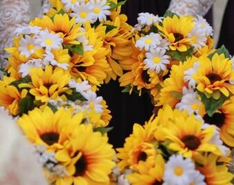 Wedding Bouquet Set / 6 Bridesmaids Bouquets/Twine Wrap Sunflower & Daisy bridesmaids bouquets OR You Choose Flower/Color 6 piece Set