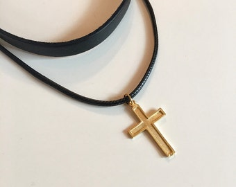 Cross Charm Leather Necklace, Bohomian Choker, Gold Cross Charm, Cross Necklace, Cross Choker Necklace, Religious Jewelry, Valentines Gift,