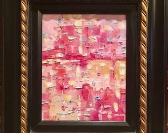 "KADLIC Original Oil Painting Abstract Pinks Impasto Color Art Gilt Wood Frame 13x15"""